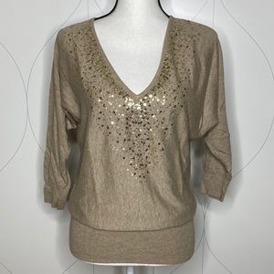 NY&Co sequin v-neck 3/4 sleeve sweater brown Small